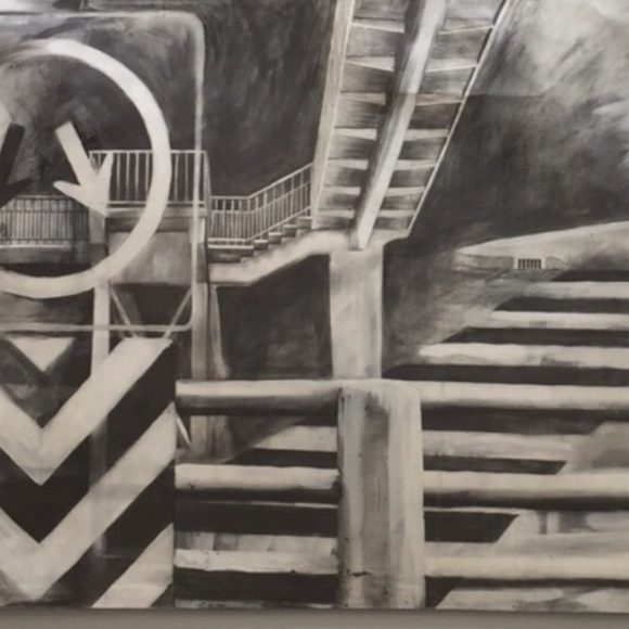 Movimiento = noción fantasiosa de la realidad. Graphite on canvas. 35.4 x 47.2 in. 2009