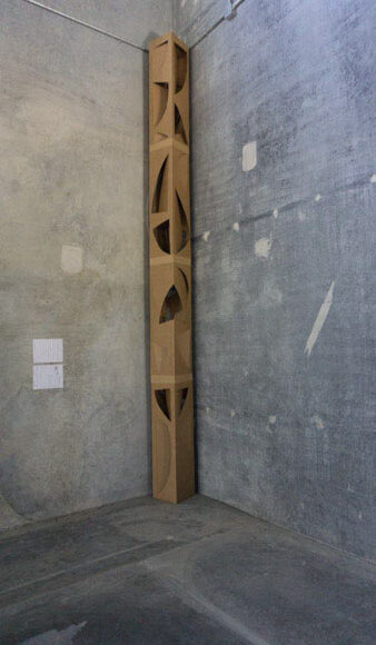 """Structure series. Cardboard. 12"""" x 12"""" x 197"""". an be made in iron and/or stainless steel. Ernesto Leon Structure series Cardboard 12"""" x 12"""" x 197"""". *Can be made in iron and/or stainless steel"""