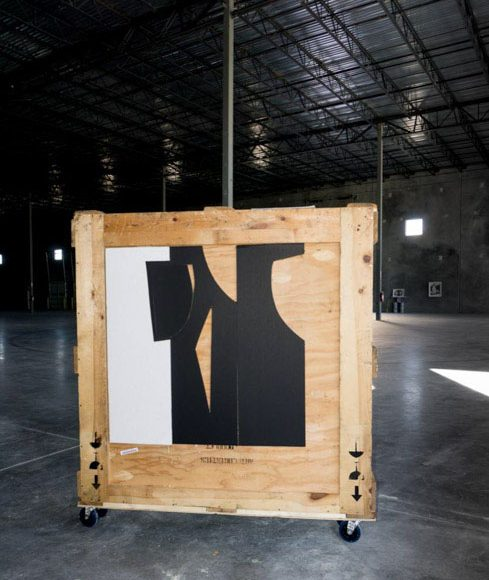 """Inside – Outside series. Intervened Wooden crating with black & white cardboard. 60"""" x 60"""". 2020"""