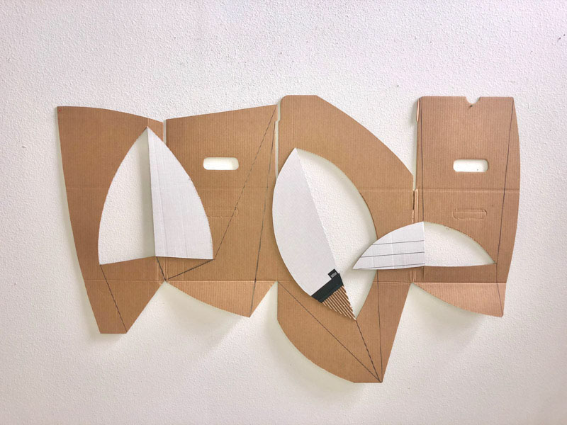 """Inside – Outside series- Intervened –to wall- assembly cardboard. 32"""" x 52"""". 2020"""